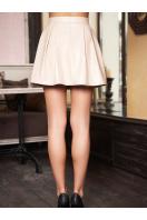 юбка в складку из экокожи. юбка мод. №7. Цвет: бежевый
