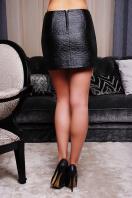 черная юбка из экокожи. юбка мод. №6. Цвет: черный-роза