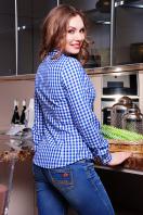 Модная женская блузка цвета электрик в клетку. блуза Шериф д/р. Цвет: электрик-клетка купить