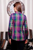 хлопковая рубашка в клетку. блуза Шотландка д/р. Цвет: зеленый-т.синяя отделка купить