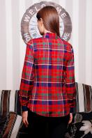 хлопковая рубашка в клетку. блуза Шотландка д/р. Цвет: красный-т.синяя отделка купить