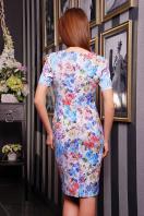 летнее платье футляр с цветами. платье Энжи к/р. Цвет: белый-голуб.цветы купить