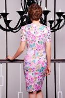 летнее платье футляр с цветами. платье Энжи к/р. Цвет: белый-розов.цветы купить