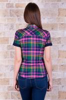 рубашка в клетку с коротким рукавом. блуза Шотландка к/р. Цвет: зеленый-т.синяя отделка купить