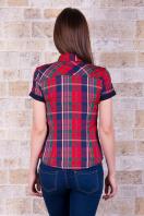 рубашка в клетку с коротким рукавом. блуза Шотландка к/р. Цвет: красный-т.синяя отделка купить