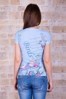 голубая футболка с птицами. Птица Футболка-1. Цвет: принт купить