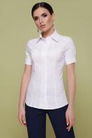 Женская белая рубашка с коротким рукавом. блуза Норма к/р. Цвет: белый цена