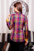 хлопковая рубашка в клетку. блуза Шотландка д/р. Цвет: горчичный-т.синяя отд купить