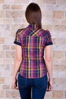 рубашка в клетку с коротким рукавом. блуза Шотландка к/р. Цвет: горчичный-т.синяя отд купить