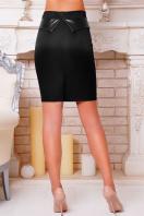 Черная юбка до колен с баской из экокожи. юбка мод. №12. Цвет: черный