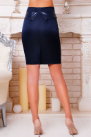 Черная юбка до колен с баской из экокожи. юбка мод. №12. Цвет: темно синий