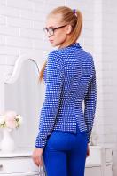 синий пиджак в клетку. пиджак Шанэль-шаль. Цвет: электрик-белый квадрат купить