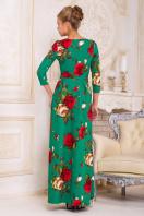 синее платье в пол с розами. платье Шарли2 д/р. Цвет: зеленый-роза крупная