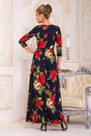 синее платье в пол с розами. платье Шарли2 д/р. Цвет: т.синий-роза крупная