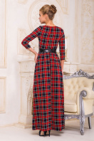 Серое платье макси, украшенное лапкой и розами. платье Шарли д/р. Цвет: т.синий-красный б.клетка купить