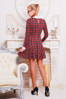 красное платье с клетчатым принтом. платье Элис д/р. Цвет: т.син.-красн.м.кл.-бел.отд.