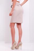 Черная юбка до колен с баской из экокожи. юбка мод. №12. Цвет: бежевый