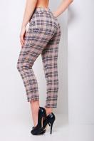 стильные женские брюки в клетку. брюки Эдема. Цвет: бежевая клетка купить