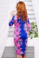 синее платье с цветочным принтом. Фиолетовые розы №2 Платье Лоя-1 д/р. Цвет: принт купить