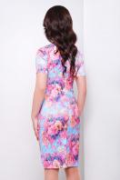 летнее платье футляр с цветами. платье Энжи к/р. Цвет: голуб.-розов.цветы купить
