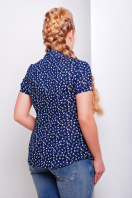 Темно-синяя ситцевая блуза батал с морским принтом. блуза Якира-Б к/р. Цвет: т.синий-якорь
