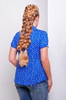 Темно-синяя ситцевая блуза батал с морским принтом. блуза Якира-Б к/р. Цвет: электрик-якорь