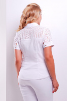 женская блузка белая большого размера. блуза Фауста-Б к/р. Цвет: белый купить