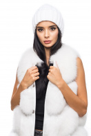 Вязаная шапка белого цвета с косами. Шапка 1051. Цвет: белый цена