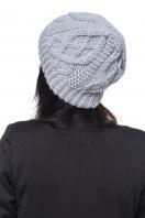 Вязаная белая шапка с внутренним отворотом. Шапка 1046. Цвет: серый