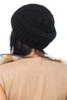 Вязаная шапка черного цвета с широкой резинкой. Шапка 1061. Цвет: черный цена