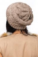 Бежевая шапка на широкой резинке с внутренним отворотом. Шапка 1063. Цвет: бежевый цена