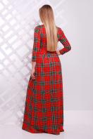 Женское платье в пол с черным ажурным узором. платье Шарлота д/р. Цвет: красный-зеленая клетка