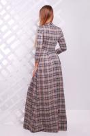 Женское платье в пол с черным ажурным узором. платье Шарлота д/р. Цвет: бежевый-черная клетка