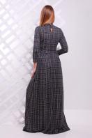 Женское платье в пол с черным ажурным узором. платье Шарлота д/р. Цвет: серый-черная клетка