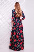 Серое платье макси, украшенное лапкой и розами. платье Шарли д/р. Цвет: т.синий-роза Б купить