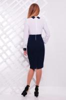 Строгое темно-синее платье с белым верхом. платье Флоренс д/р. Цвет: т.синий-белая отделка купить