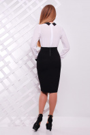 Строгое темно-синее платье с белым верхом. платье Флоренс д/р. Цвет: черный-белая отделка купить