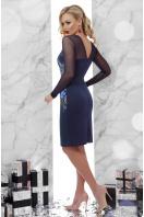 Платье синего цвета с верхом и рукавами из сетки. Вышивка платье Донна2 д/р. Цвет: синий купить