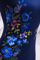 Платье синего цвета с верхом и рукавами из сетки. Вышивка платье Донна2 д/р. Цвет: синий цена