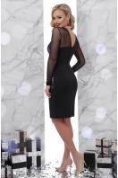 Платье синего цвета с верхом и рукавами из сетки. Вышивка платье Донна2 д/р. Цвет: черный купить