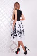 Платье без рукавов с черным верхом и пышной юбкой. Черные цветы платье Мирана б/р. Цвет: белый