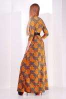синее длинное платье с розами. платье Шарли д/р. Цвет: оранжевый-лапка-роза купить