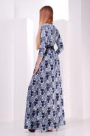 Серое платье макси, украшенное лапкой и розами. платье Шарли д/р. Цвет: серый-лапка-роза купить