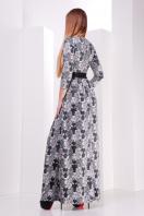 Серое платье макси, украшенное лапкой и розами. платье Шарли д/р. Цвет: черный-лапка-роза купить