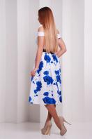 Красивое платье с открытыми плечами и пышной юбкой. Розы синие платье Эмми б/р. Цвет: принт купить