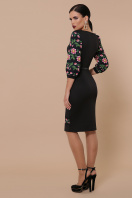 Белое облегающее платье с цветочным принтом. Цветы-орнамент платье Андора д/р. Цвет: черный цена
