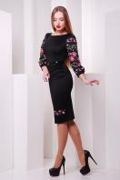 Белое облегающее платье с цветочным принтом. Цветы-орнамент платье Андора д/р. Цвет: черный в интернет-магазине