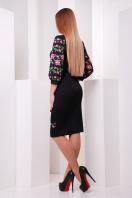 Белое облегающее платье с цветочным принтом. Цветы-орнамент платье Андора д/р. Цвет: черный в Украине