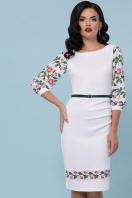 Белое облегающее платье с цветочным принтом. Цветы-орнамент платье Андора д/р. Цвет: белый купить