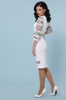Белое облегающее платье с цветочным принтом. Цветы-орнамент платье Андора д/р. Цвет: белый в интернет-магазине